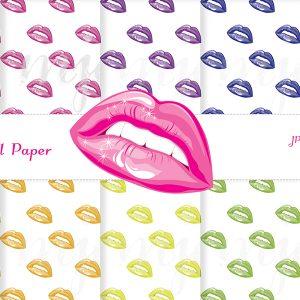 lips kiss pattern digital paper